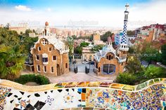 Park Güell, completed in 1916, a large garden complex in Barcelona with stunning mosaics and many interesting buildings.by Antoni Gaudi