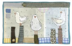 Sharon Blackman: Late summer designs... Seagulls appliquéd and embroidered textile picture