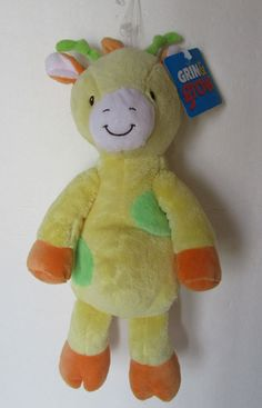 "Baby Yellow Giraffe Plush Floppy Sassy Grin Grow 12"" Stuffed Toy Walmart NWT #GrinGrow"
