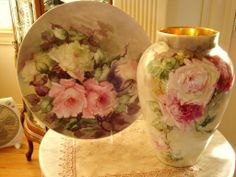Limoges France Antique Hand Painted Porcelain Plaque Tray Roses