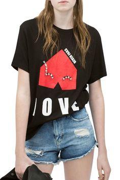 Street-Chic Love Black Tee - OASAP.com