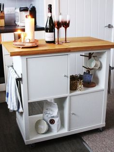 9 Ways to Use IKEA Parts to Build a DIY Kitchen Island. On a budget and looking for tricks to make your kitchen remodel or redesign look like a million bucks? Here are a bunch if ideas for how to build or make your own small island -- with or without seating --- on a budget with parts and pieces from IKEA.