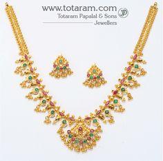 22K Gold Ruby Necklace & Drop Earrings set: Totaram Jewelers: Buy Indian Gold jewelry & 18K Diamond jewelry