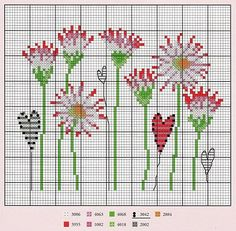 Flowers & Hearts cross-stitch