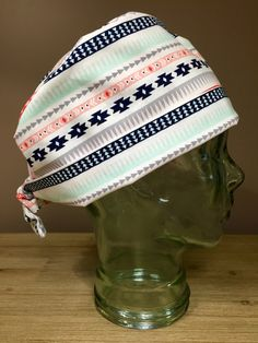 Custom Caps Company Tribal Print in Navy, Mint & Coral Scrub Hat, Women's Scrub Cap, Pixie Tie Back Surgical Hat by CustomCapsCompany on Etsy