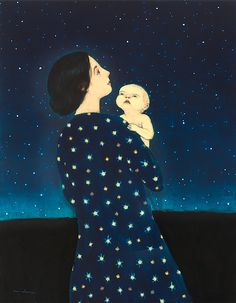 Young Astronomer by Brian Kershisnik. A mother introduces her curious child to the wonders of the heavens in this poignant giclee print of an original oil painting. Signed and numbered limited edition of Art And Illustration, Illustrations, Painting Inspiration, Art Inspo, Brian Kershisnik, Vision Art, Lds Art, Mother Art, Oeuvre D'art