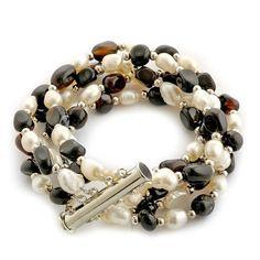 Fresh Water Pearl - White Black Agate Fancy Bracelet TGW 50 carats 7.5 inch $39.99