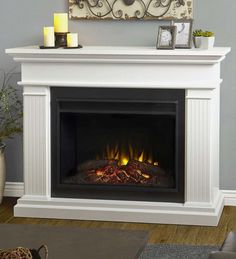 Real Flame Kennedy White in. H Grand Electric Fireplace (Kennedy Grand Electric Fireplace White Real Flame) (Metal) Electric Fireplace With Mantel, White Fireplace, Faux Fireplace, Fireplace Design, Fireplace Mantels, Fireplace Inserts, Electric Fireplaces, Indoor Fireplaces, Media Fireplace