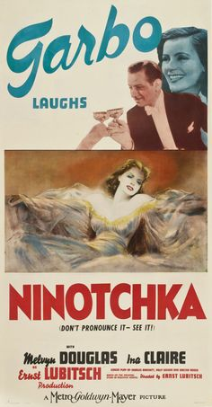 """""""Ninotchka"""". Greta Garbo, Melvyn Douglas and Ina Claire. Directed by Ernst Lubitsch, MGM, 1939. U.S. Three Sheet Poster."""