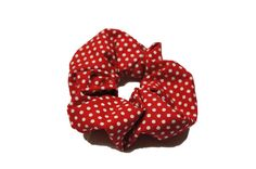 """red and white polka dot cotton scrunchie  by TheScrunchiePuss - 22"""""""