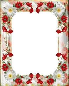 Transparent PNG Photo Frame with Yellow Poppies: