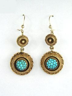 ANTIQUE VICTORIAN ENGLISH 15K GOLD PAVE TURQUOISE DROP EARRINGS c1870