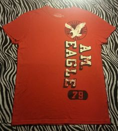 ~ American Eagle Outfitters AE Mens Athletic Fit Red Logo Tee Shirt Size S ~ EUC #AmericanEagleOutfitters #GraphicTee
