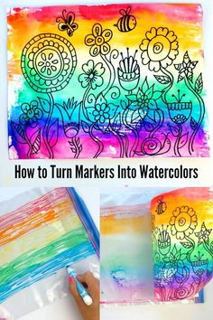It's easy to do kids watercolor painting using Crayola markers. Create beautiful watercolor backgrounds using markers for a variety of fun kid art projects. Spring Art Projects, Cool Art Projects, Projects For Kids, Spring Crafts, Class Art Projects, Diy Projects, Kindergarten Art, Preschool Art, Painting For Kids