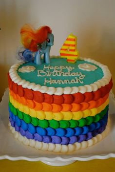 Hannah's Rainbow Dash birthday cake. Blue velvet with chocolate chip filling and buttercream frosting