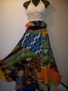Gypsy patchwork African print skirt with by tambocollection, $80.00