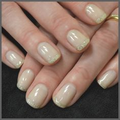 Neutral with a touch of glimmer on the tips.  City Looks Salon and Spa, Cedar Rapids
