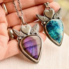 Labradorite and Azurite wing pendants in sterling silver.