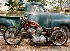 53 chevy truck sportster harley motorcycle fall film contax 645 kodak portra