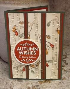 Stampin' Up! Woodland Textured Impressions EF, Among the Branches stamps. Fall Card