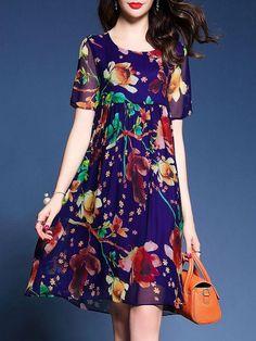 Midi Dress Daily Dress Short Sleeve Boho Printed Mini Dresses - One Maxi Outfits, Plus Size Holiday Dresses, Casual Dresses, Short Sleeve Dresses, Dress Sleeves, Short Sleeves, Daily Dress Me, Floryday Vestidos, Boho Midi Dress