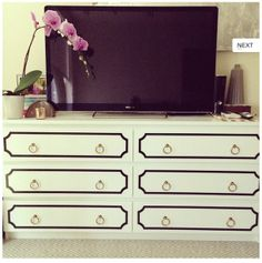 """Ikea """"malm"""" dresser transformed - for living room - to hold DVDs, gaming systems, books, and other office-y things"""