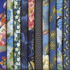 Tissus Japonais : Lots de Coupons teintes bleues en vente sur Avenue des Tissus