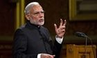 Narendra Modi, the prime minister of India, addresses the UK parliament on Thursday during a two-day state visit