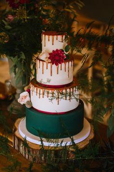 Red Green Drip Cake Gold Edgy Seasonal Autumnal Tipi Wedding Ideas http://www.sambennettphotography.co.uk/