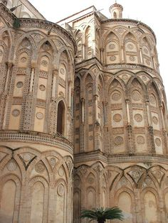.Exterior of Monreale Cathedral (Palermo, Sicily) - built from 1174 to 1185.