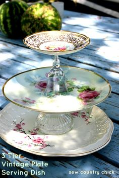 [orginial_title] – Lizzy Santiago Sew Country Chick: fashion sewing and DIY: 3 Tier Vintage Plate Server Tutorial…. Sew Country Chick: fashion sewing and DIY: 3 Tier Vintage Plate Server Tutorial…attached with gorilla glue Craft Projects, Projects To Try, Craft Ideas, Tiered Stand, Tiered Server, Vintage Plates, Vintage China, Old Plates, China Plates