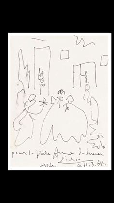 "Pablo Picasso -"" Les ménines "", 31 III 1964 (dated and inscribed "" Picasso 31.03.1964, pour la fille Anne de Lucien, Arles) - Black felt-tip pen on paper - 32 x 25 cm (..)"