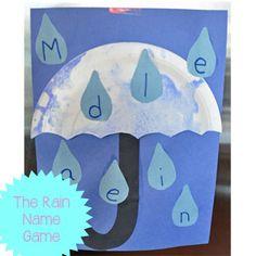 Spring Umbrella Craft : Preschool and Toddler Name Activity