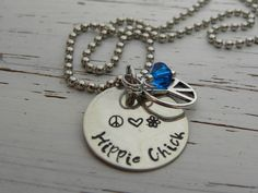 HIPPIE CHICK necklace - hand stamped - silver - peace sign charm - peace heart flower - blue Swarovski crystal - you can choose the color