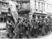 German POWs march out from Berlin after surrender