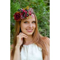 Burgundy wedding flower crown Fall Bridal floral headband Bridal crown... (78 BGN) ❤ liked on Polyvore featuring accessories, hair accessories, purple flower crown, red flower crown, red headband, flower crown and red rose headband