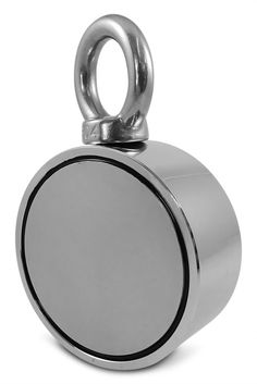 "Double Sided Round Neodymium Magnet with Eyebolt, Combined 800 LBS Pulling Force, 2.95"" Diameter"
