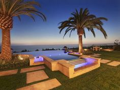 Pool at an Ocean View Mansion in California