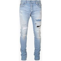 Balmain - Slim-fit destroyed stretch cotton denim jeans - Mens jeans ($1,120) ❤ liked on Polyvore featuring men's fashion, men's clothing, men's jeans, pants, jeans, men, mens pants, bottoms, mens slim jeans and mens distressed jeans