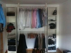 Closet hack for small spaces or rooms without a closet. The finished space has ceiling mounted doors on a track, but I would probably do curtains.