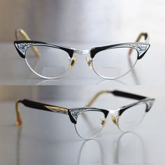 67cbda5ba05 Vintage 50s Womens Glasses BROW HORNRIM CATEYE Rx Prescription Eyewear  Black Silver Wire