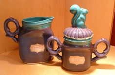 Squirrel Sugar and Creamer - Porcelain, one of a kind by Tricia McGuigan, represented by Human Arts Gallery in Ojai, CA
