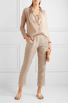 Mes Demoiselles - Comma Metallic Striped Chiffon Shirt - Ecru - FR40