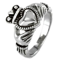 Elya Designs Stainless Steel Black Outlined Irish Claddagh Ring IRISHTradition/Heritage! ALWAYS LOVED THESE & S. STEEL IS GREAT (plus a great buy/ bundle) :) !