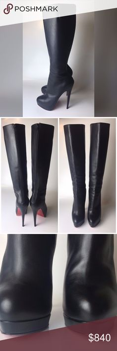 "Louboutin Alti Botte 160 Leather Boots Euro 38.5 Great condition, worn ONCE. Bottoms are a bit scuffed from wear. Come as is, will be shipped in other brand's dust bag. No receipt is kept.   Heel is 5.9"" Total length from floor to top of boot is 20.9"" Boot-top diameter is 14.17"" Platform is 0.6""  Please note, that European designer shoes typically run smaller then US designers. You should know your size in the particular designer's shoes before making a purchase. Christian Louboutin Shoes…"