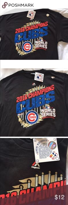 CHICAGO CUBS 2016 SERIES CHAMPIONS SHIRT SZ L NEW CHICAGO CUBS MLB 2016 WORLD SERIES CHAMPIONS MAJESTIC T-SHIRT MEN SIZE L NEW Majestic Shirts Tees - Short Sleeve