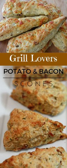 Grill Lovers' Amazing Potato and Bacon Scones. On thanksgiving .it's a treatRecipe (sweet stuff bacon) Breakfast Scones, Breakfast Recipes, Savory Breakfast, Muffins, Bacon Scone Recipe, Croissants, Biscuits, Savory Scones, Brunch