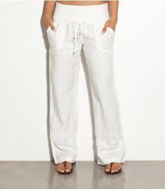 white linen capri pants - Pi Pants