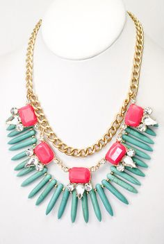 The Rendezvous Statement Necklace - Turquoise   Pink