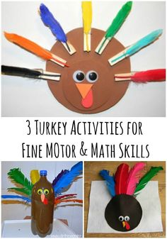 These 3 Turkey Activities for Fine Motor & Math Skills are fun for toddlers and preschoolers! | Stir the Wonder